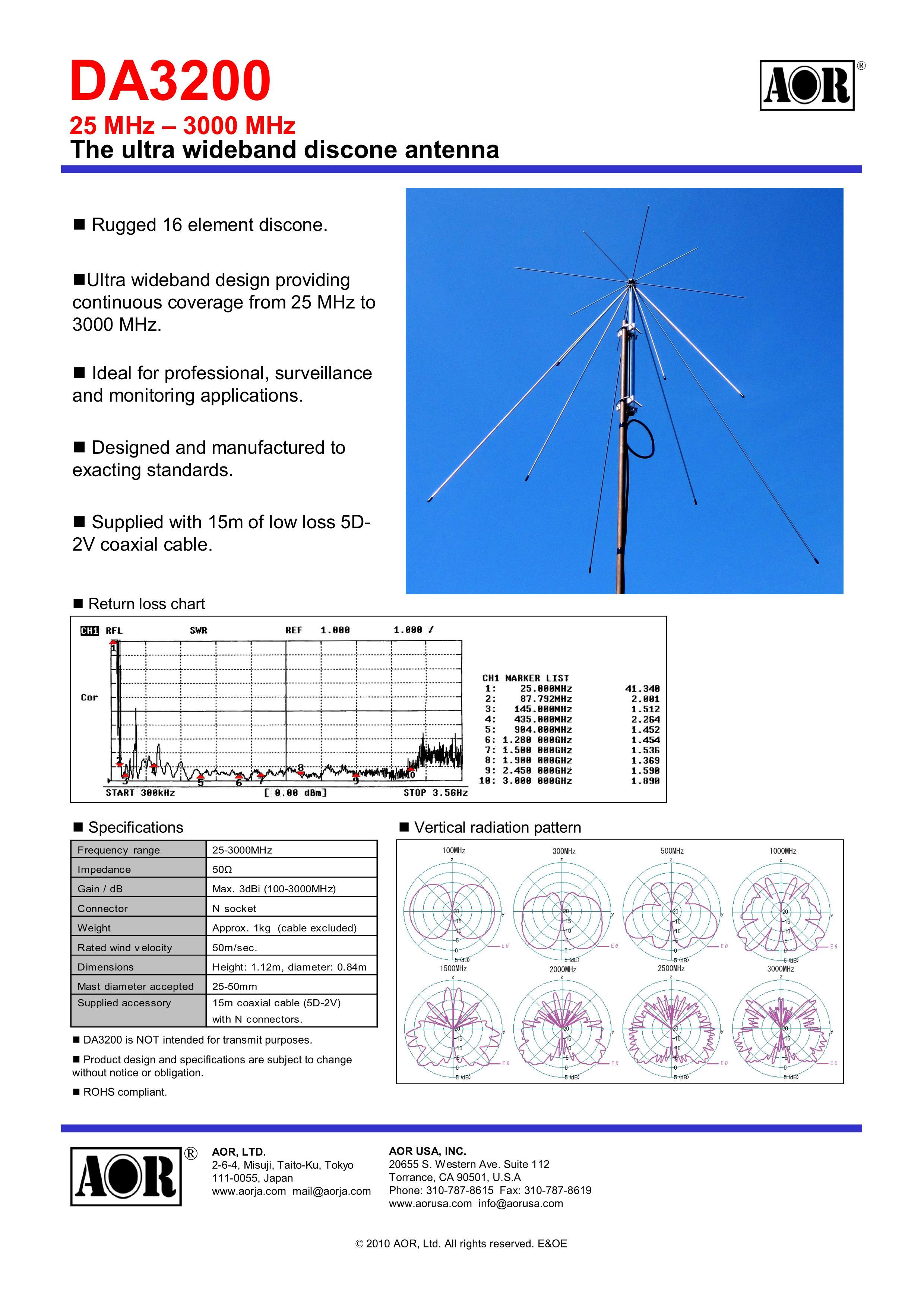 da3200 antennas aor ltd authority on radio communications