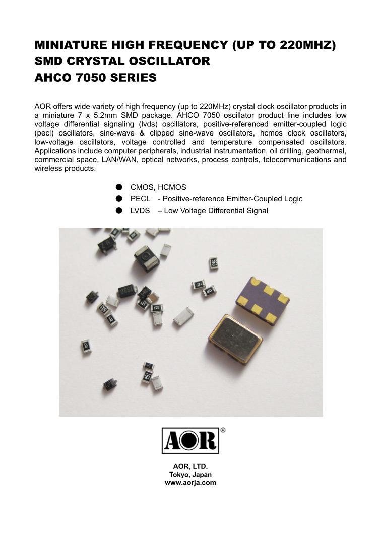 AHCO 7050 | CRYSTAL PRODUCTS | AOR,LTD  Authority On Radio