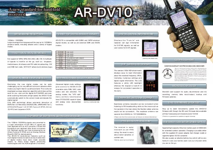 AR-DV10 | RECEIVERS | AOR,LTD  Authority On Radio Communications